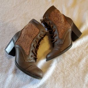 Brown Crochet Ankle Boots